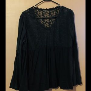 Black lace Long Sleeve Top V-neck🖤